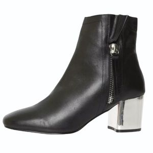 Shelly's London Black Boots With Silver Block Heel